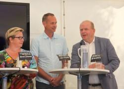 Theresia Hermén Johansson, affärsområdeschef måltid inom Region Skåne, Sjukhusläkarnas andra vice ordförande Bengt von Zur-Mühlen och Eskil Erlandsson (C). Foto: Eva-Maria Björk