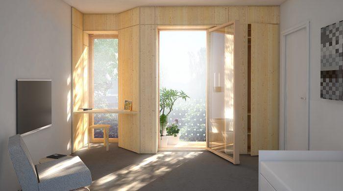 : Ett framtida vårdrum på psykiatrins hus i Borås? En visionsbild som arkitekterna hoppas få se bli verklighet på Psykiatrins hus i Borås. Vårdrummen påminner mer om hotellrum. Nästan alla är placerade mot ljusa väderstreck. Foto: White