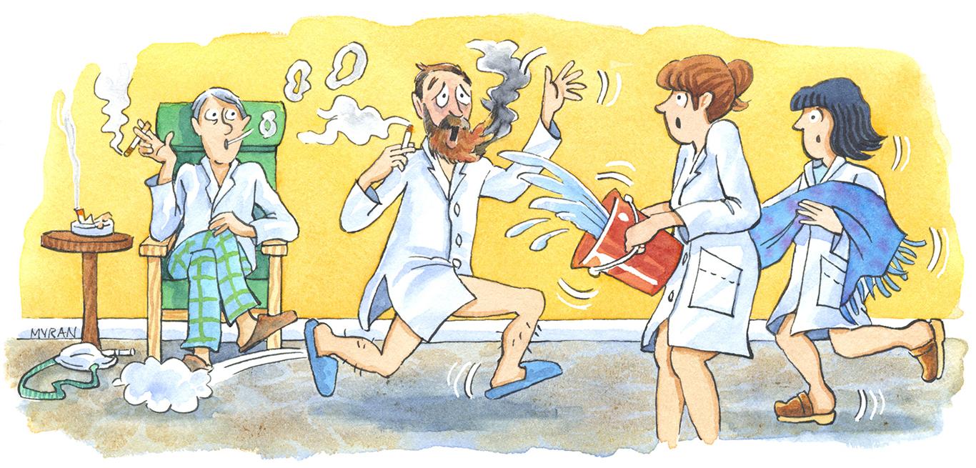 Ett skrik hördes från dagrummet där patientens syrgasbemängda skägg fattat eld. Illustration:Myran